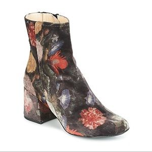 Anthropologie Jeanie Printed Velvet Boots